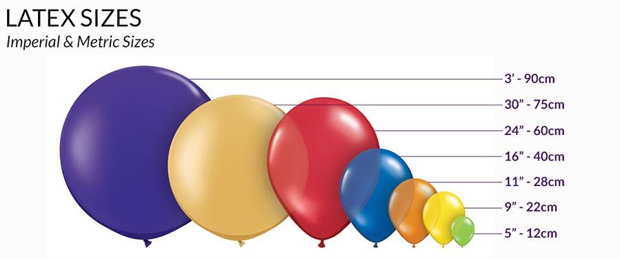 Balloon Sizes Color Chart Bubble Moo Balloons